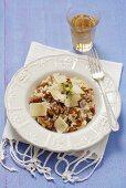 Risotto ai finferli (risotto with chanterelle mushrooms, Italy)