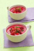 Beetroot soup with beans
