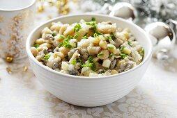Herring salad with white beans for Christmas dinner