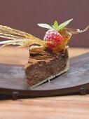 Stück Schokoladentorte mit Karamellfächer und Himbeere
