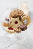 Assorted Christmas biscuits on glass stand