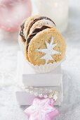 Christmas biscuits with chocolate cream filling