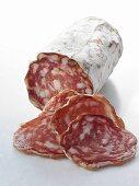 Salami, partly sliced