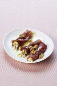 Involtini di mocetta (Ham rolls with apples & walnuts)