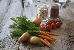 Fresh ingredients for vegetable soup