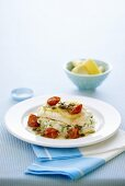 Redfish fillet with caper and dill sauce