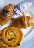 Assorted croissants and raisin bun