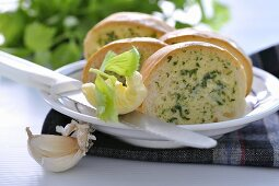 Baguette with herb butter and garlic