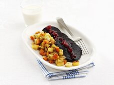 Black pudding with carrots & apples and cranberries (Sweden)