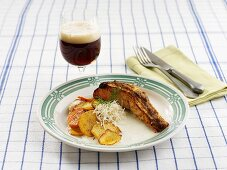 Salmon fillet with mustard crust and horseradish