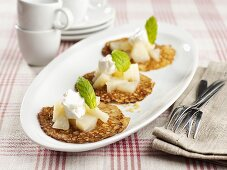 Quinoa pancakes with pear compote and yoghurt
