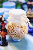 Spaetzle (noodles) in storage jar (Jewish cuisine)