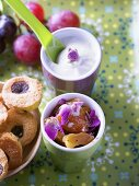Yoghurt with biscuits and dried fruit for breakfast