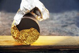 Chocolate wrapped in gold foil