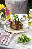 Rack of lamb with beans