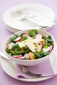 Watercress & asparagus salad with chicken, radishes, Parmesan