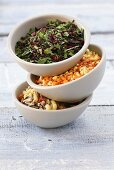 Three instant soups with dried vegetables and herbs