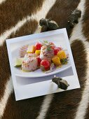 Grilled scallops with tomato and mango salad