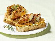 Smoked mackerel and pumpkin open sandwiches