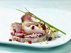 Roast veal and radish open sandwich
