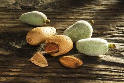 Dried and fresh almonds