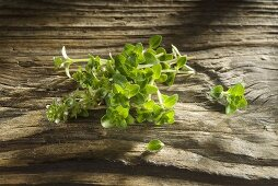 Fresh thyme on a wooden board