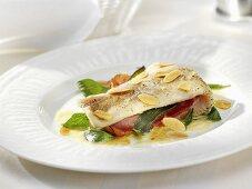 Fish saltimbocca with almond sauce