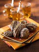 Chocolate madeleines with tea