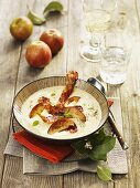 Savoury apple soup with bacon and marjoram