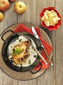 Pork chop with apple topping
