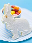 Jelly beans and white Easter Bunny biscuit