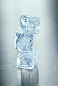 Three ice cubes, stacked