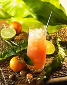 Mandarin orange and lime drink with guava juice and ice