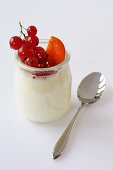 Natural yoghurt with redcurrants and apricots