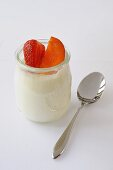 Natural yoghurt with strawberry and apricot