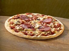A salami pizza