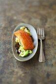 Marinated salmon on cabbage
