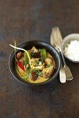 Green beef coconut curry