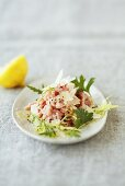Veal tartare with Parmesan, salad leaves and herbs
