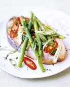 Salmon cutlet with green asparagus, spring onions & chilli