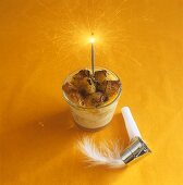 Panettone pudding with sparkler