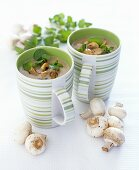 Mushroom soup with precooked chicken breast & watercress
