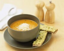 Carrot & coriander soup (bought product), guacamole on wholemeal toast