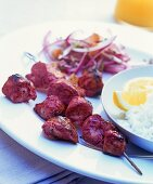 Chicken tandoori kebabs with basmati rice