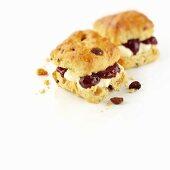 Fruit scones with cream and jam