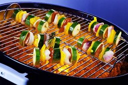 Vegetable skewers on barbecue