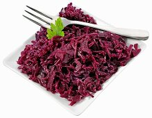 Red cabbage on plate with fork