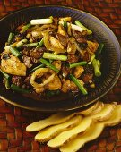 Pad King Kai (chicken with ginger and honey, Thailand)