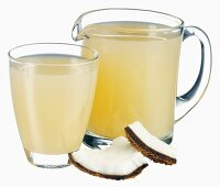 Coconut juice in jug and glass