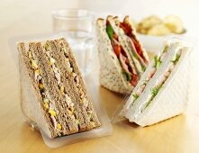 Assorted sandwiches in plastic packaging to take away